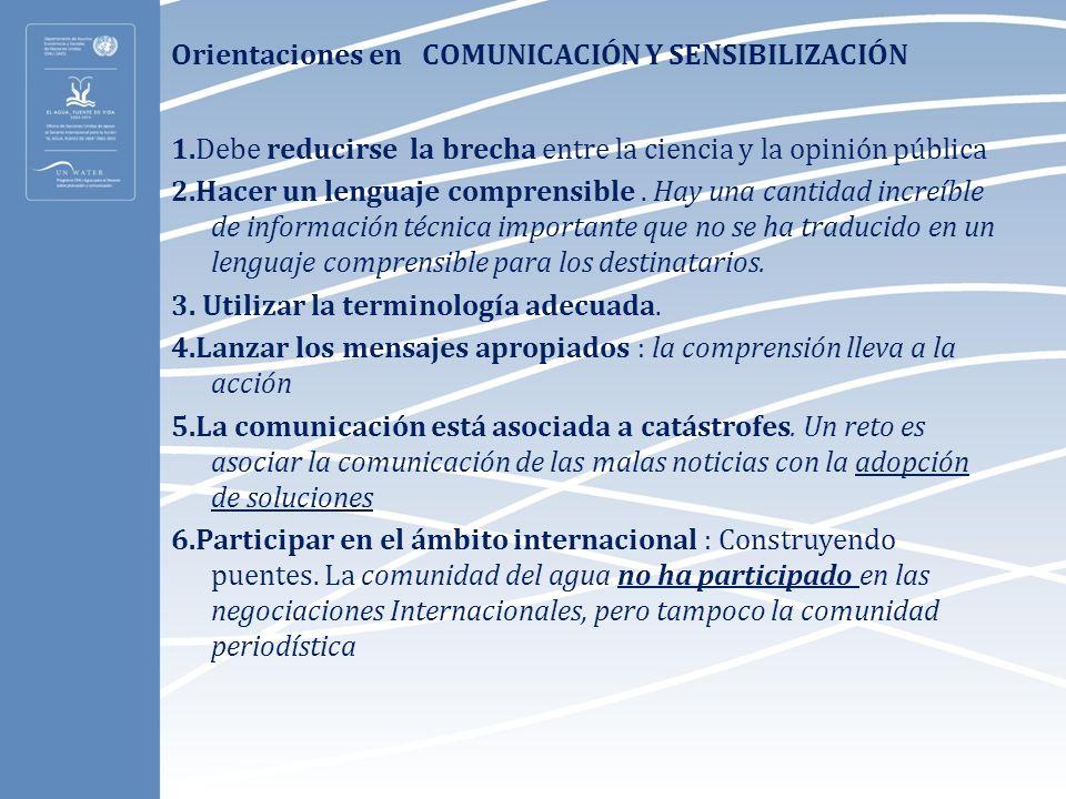 Orientaciones en COMUNICACIÓN Y SENSIBILIZACIÓN