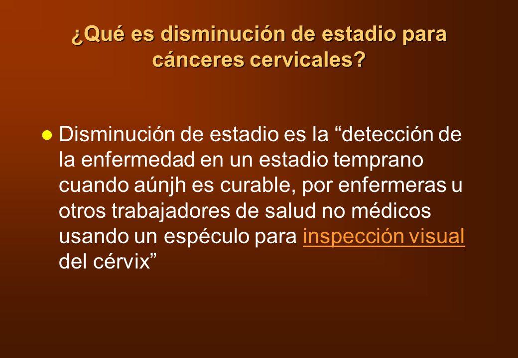 ¿Qué es disminución de estadio para cánceres cervicales