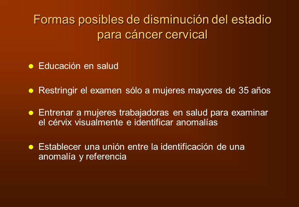 Formas posibles de disminución del estadio para cáncer cervical
