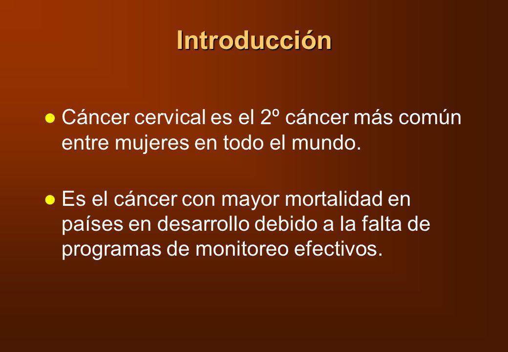 Introducción Cáncer cervical es el 2º cáncer más común entre mujeres en todo el mundo.