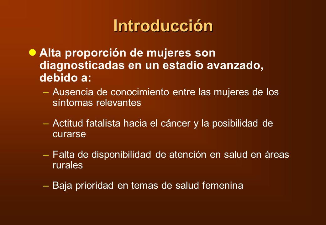 Introducción Alta proporción de mujeres son diagnosticadas en un estadio avanzado, debido a:
