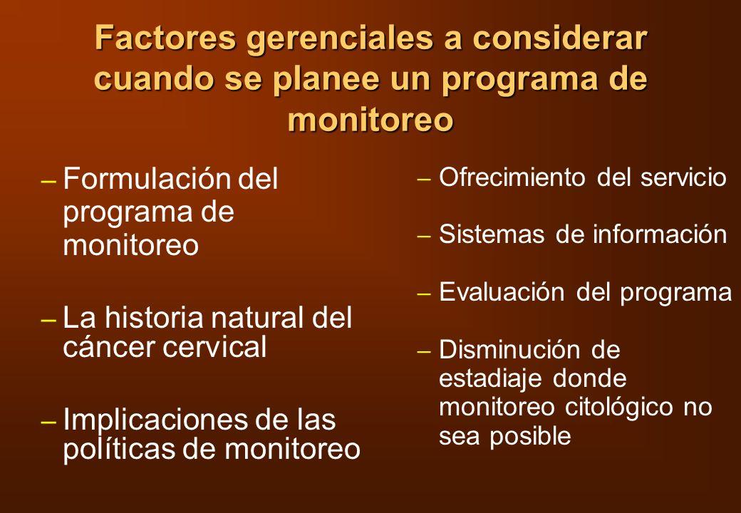 Factores gerenciales a considerar cuando se planee un programa de monitoreo