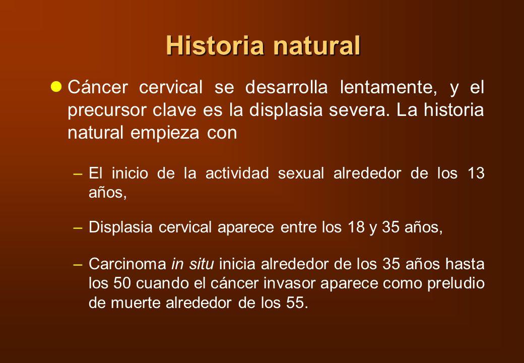 Historia natural Cáncer cervical se desarrolla lentamente, y el precursor clave es la displasia severa. La historia natural empieza con.