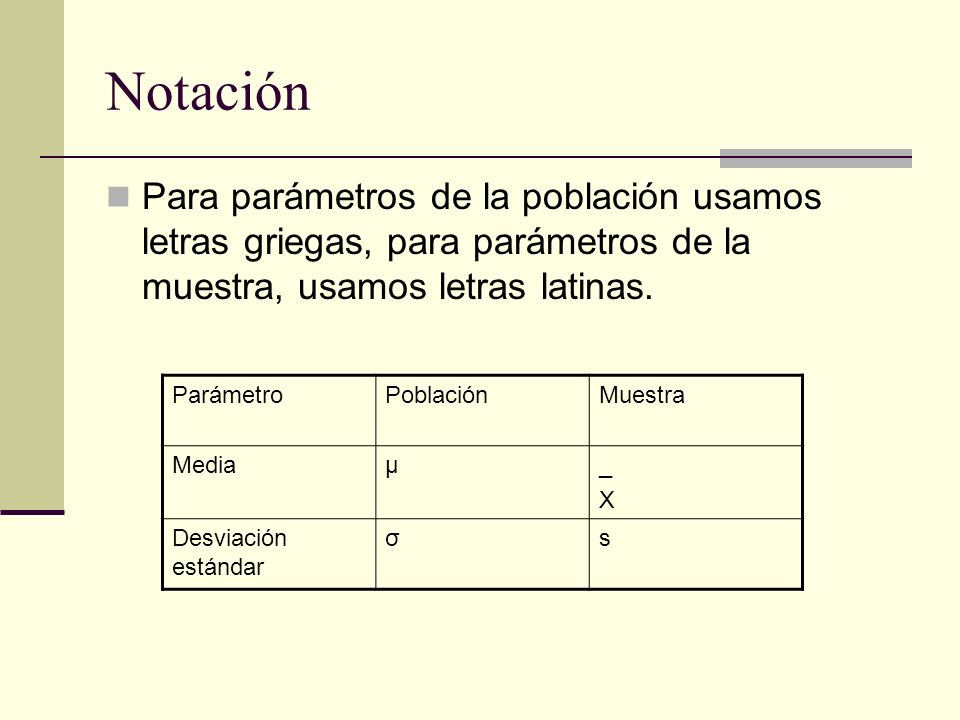 NotaciónPara parámetros de la población usamos letras griegas, para parámetros de la muestra, usamos letras latinas.