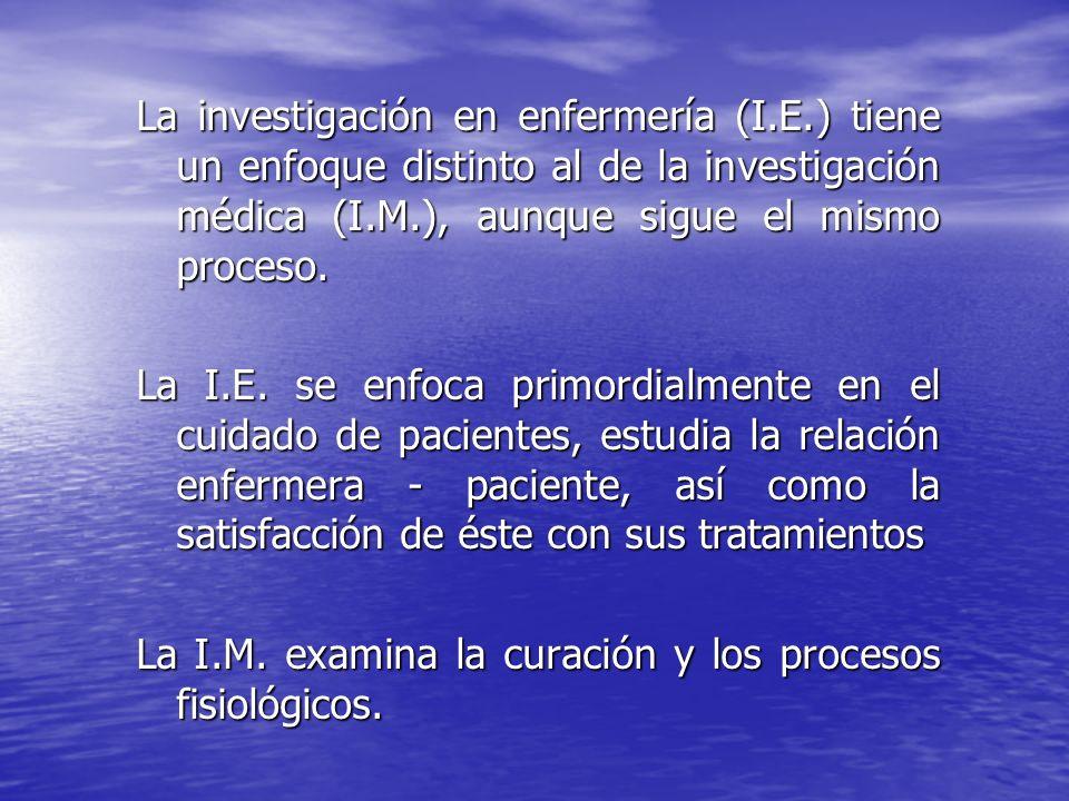 La investigación en enfermería (I. E