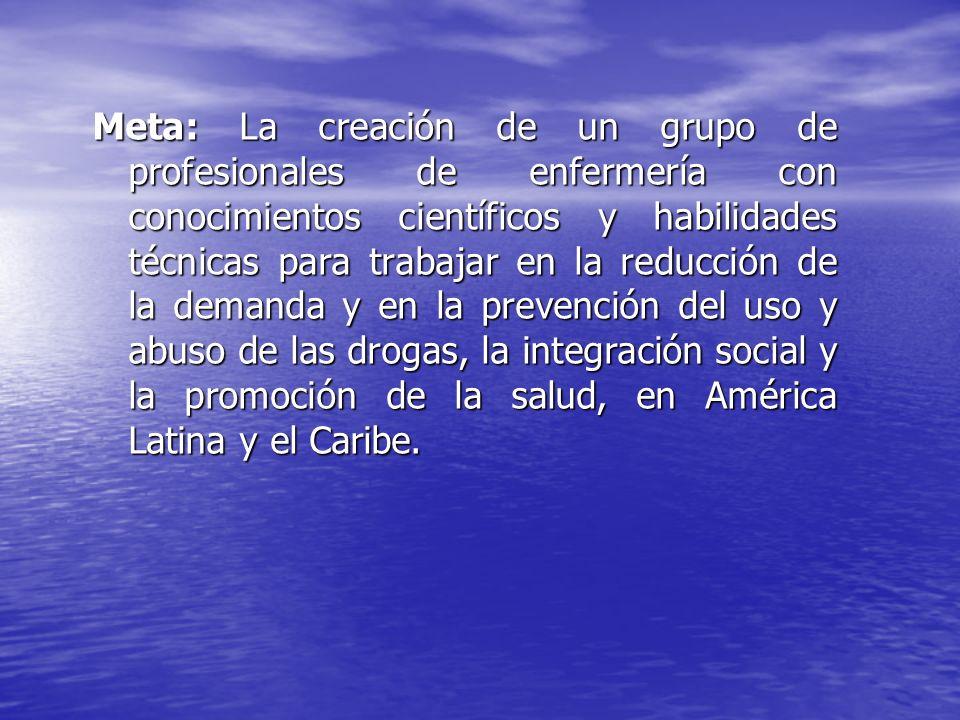 Meta: La creación de un grupo de profesionales de enfermería con conocimientos científicos y habilidades técnicas para trabajar en la reducción de la demanda y en la prevención del uso y abuso de las drogas, la integración social y la promoción de la salud, en América Latina y el Caribe.