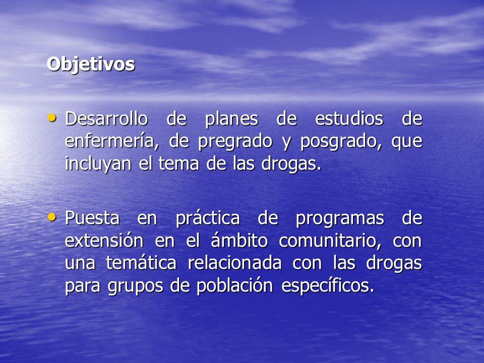 Objetivos Desarrollo de planes de estudios de enfermería, de pregrado y posgrado, que incluyan el tema de las drogas.
