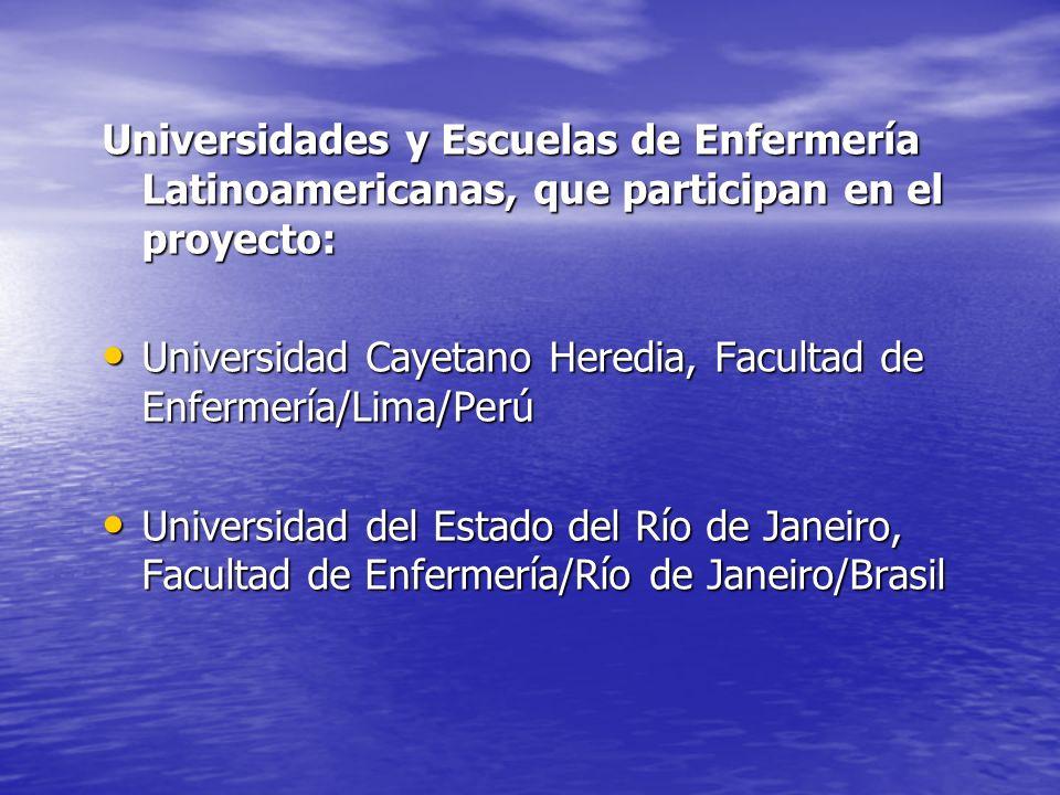 Universidades y Escuelas de Enfermería Latinoamericanas, que participan en el proyecto: