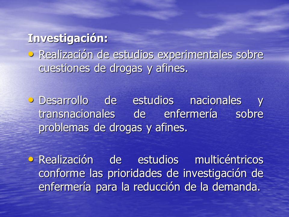 Investigación: Realización de estudios experimentales sobre cuestiones de drogas y afines.