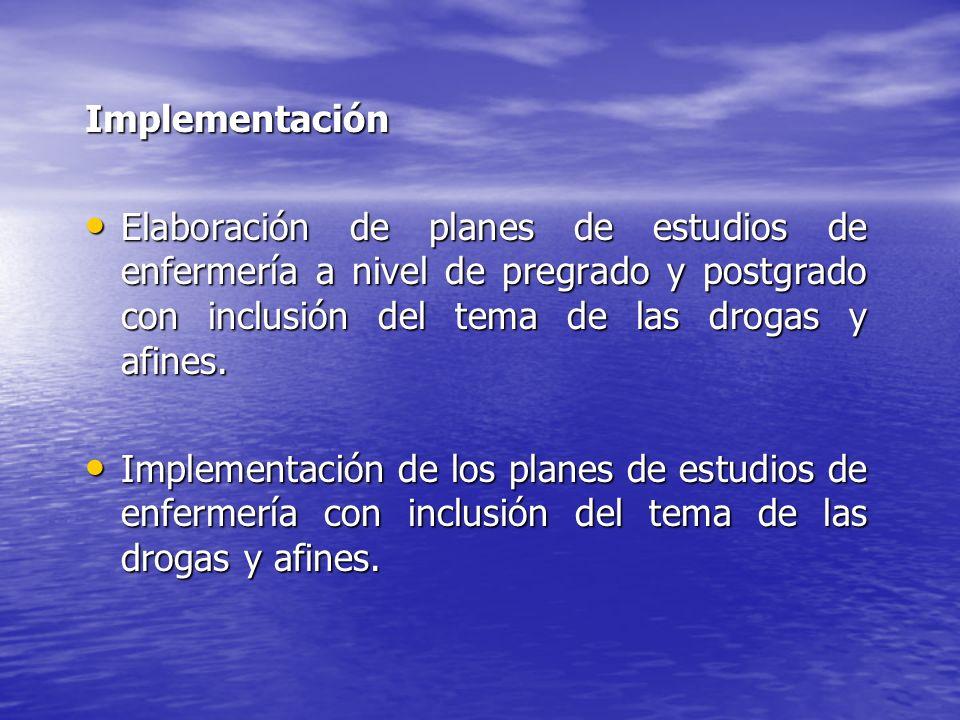 Implementación Elaboración de planes de estudios de enfermería a nivel de pregrado y postgrado con inclusión del tema de las drogas y afines.