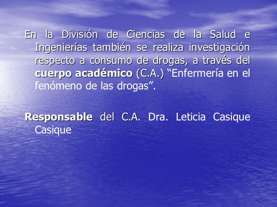 En la División de Ciencias de la Salud e Ingenierías también se realiza investigación respecto a consumo de drogas, a través del cuerpo académico (C.A.) Enfermería en el fenómeno de las drogas .