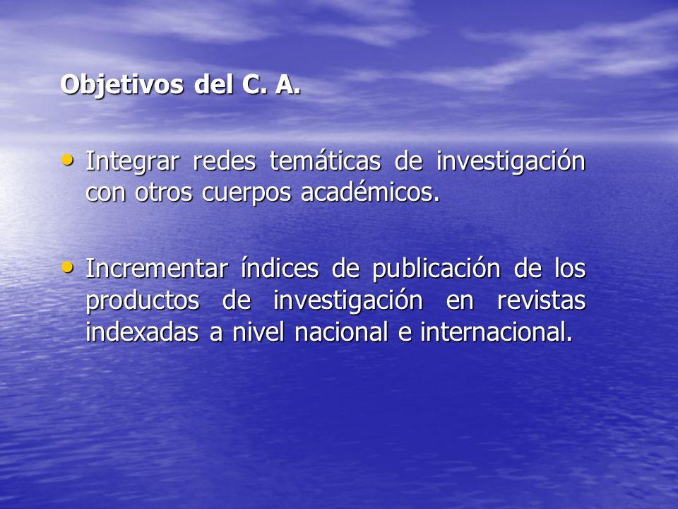 Objetivos del C. A. Integrar redes temáticas de investigación con otros cuerpos académicos.