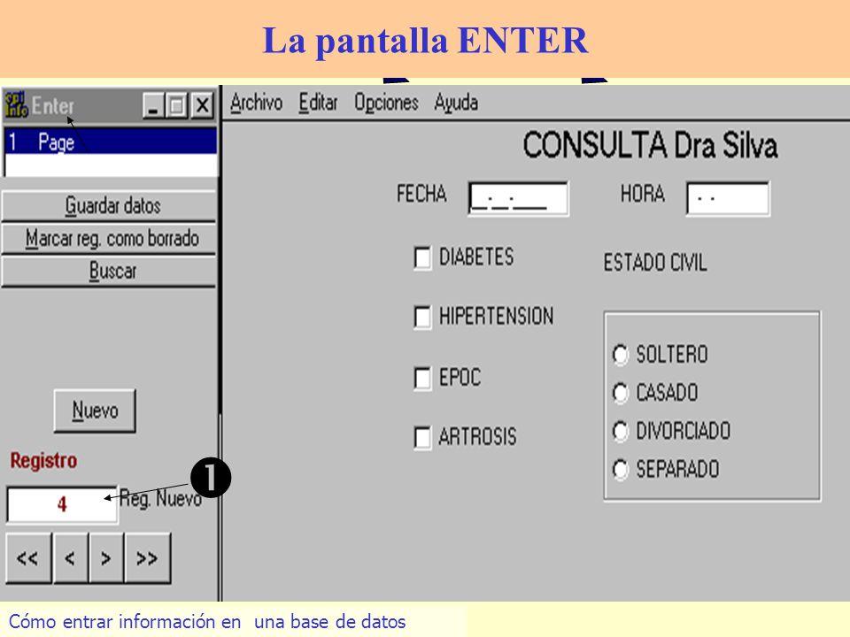  La pantalla ENTER Cómo entrar información en una base de datos