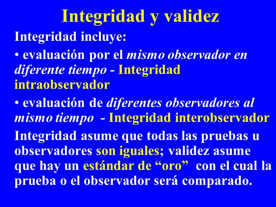 Integridad y validez Integridad incluye: