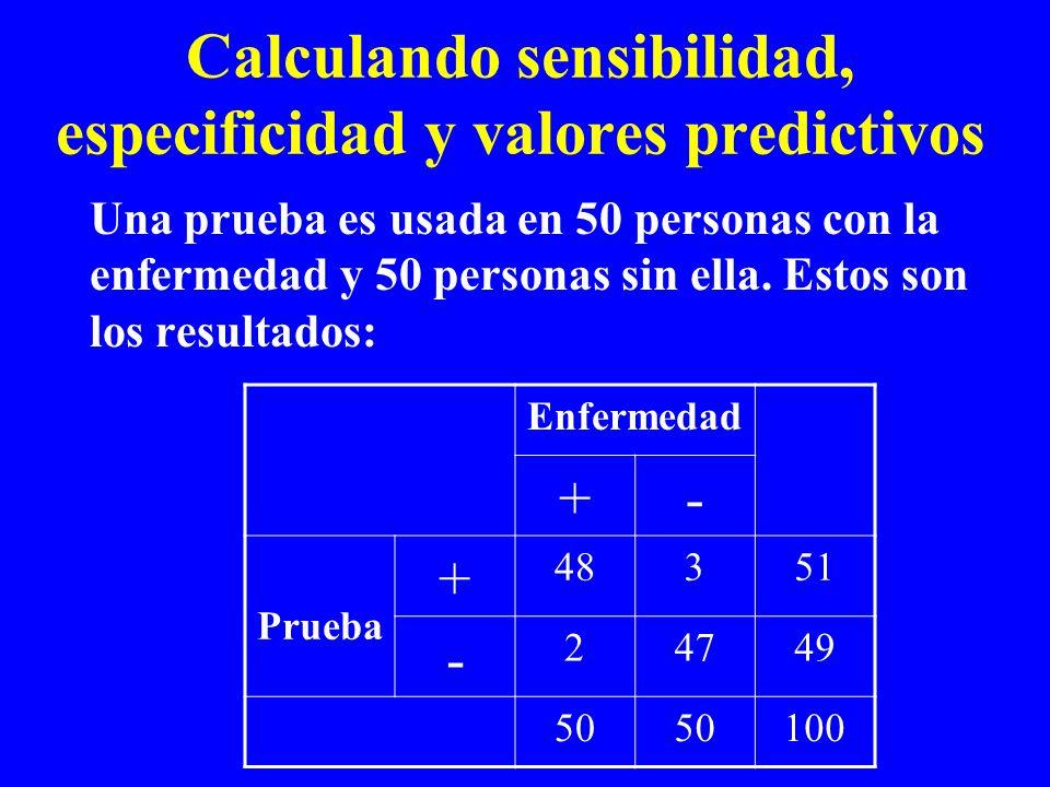 Calculando sensibilidad, especificidad y valores predictivos