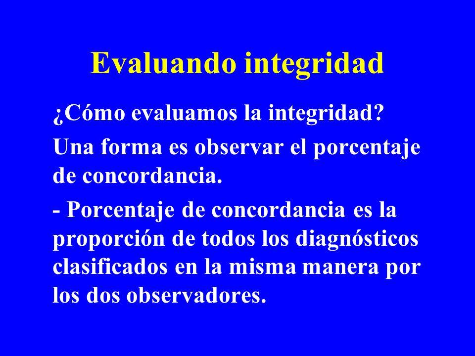 Evaluando integridad ¿Cómo evaluamos la integridad