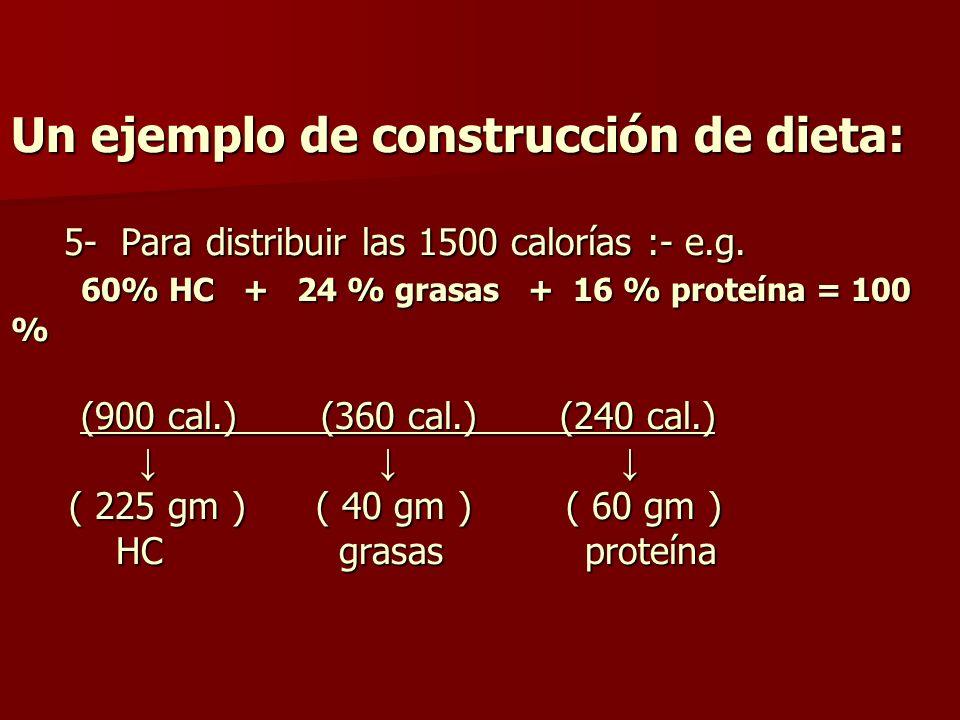 Un ejemplo de construcción de dieta: 5- Para distribuir las 1500 calorías :- e.g.