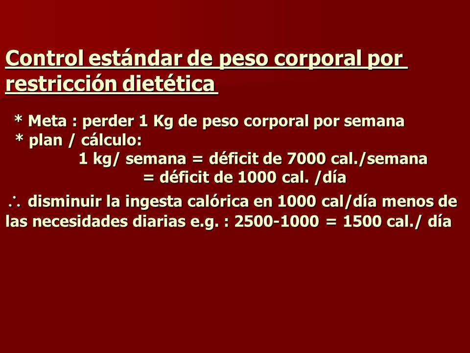 Control estándar de peso corporal por restricción dietética