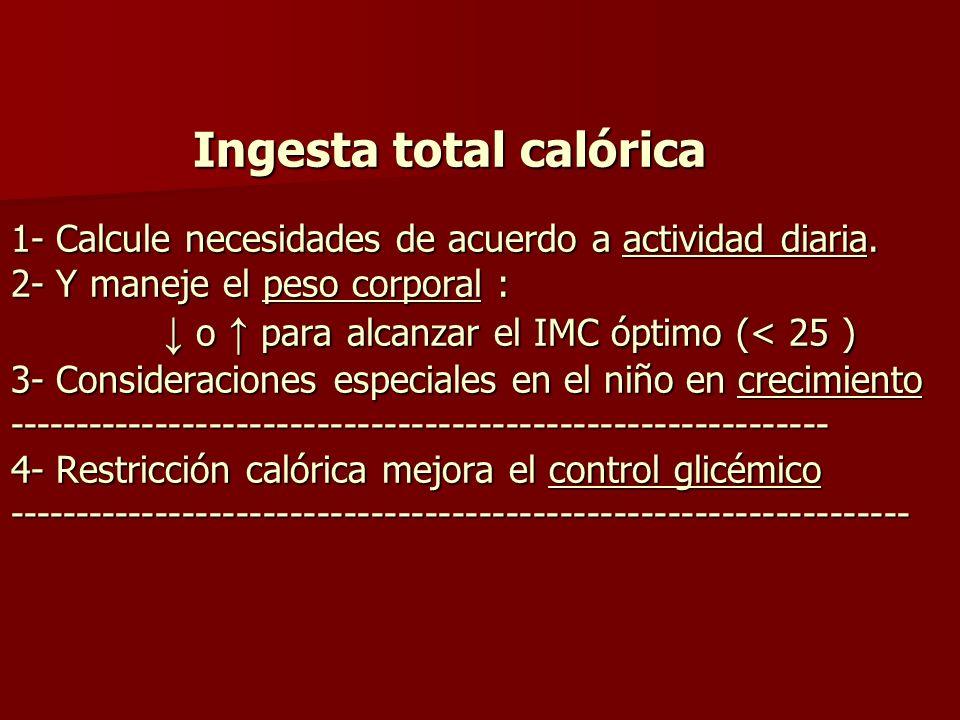 Ingesta total calórica 1- Calcule necesidades de acuerdo a actividad diaria.