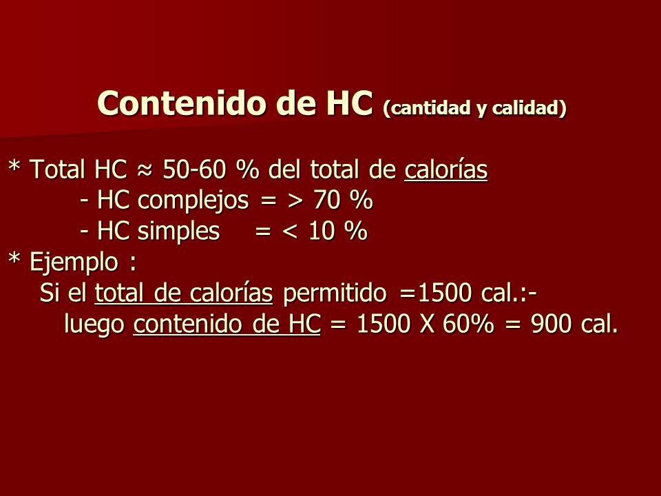 Contenido de HC (cantidad y calidad)