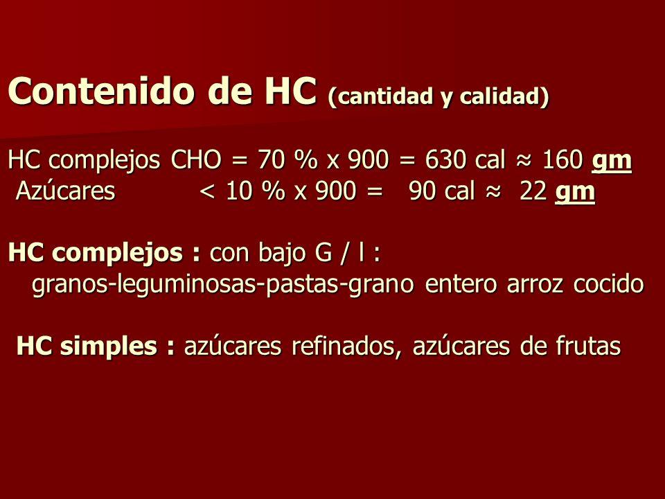 Contenido de HC (cantidad y calidad) HC complejos CHO = 70 % x 900 = 630 cal ≈ 160 gm Azúcares < 10 % x 900 = 90 cal ≈ 22 gm HC complejos : con bajo G / l : granos-leguminosas-pastas-grano entero arroz cocido HC simples : azúcares refinados, azúcares de frutas