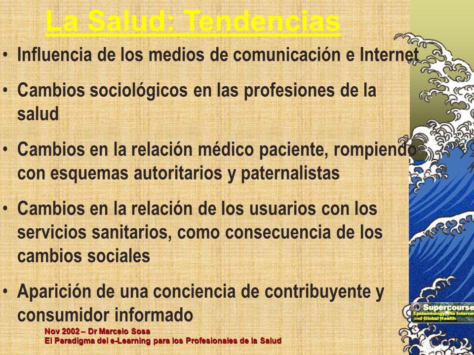 La Salud: Tendencias Influencia de los medios de comunicación e Internet. Cambios sociológicos en las profesiones de la salud.
