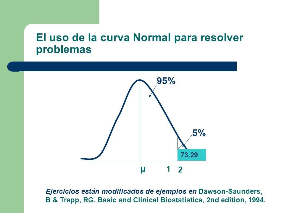 El uso de la curva Normal para resolver problemas