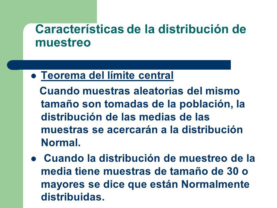 Características de la distribución de muestreo