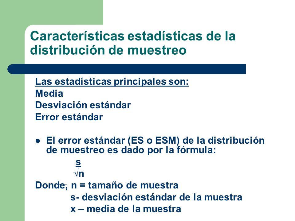 Características estadísticas de la distribución de muestreo