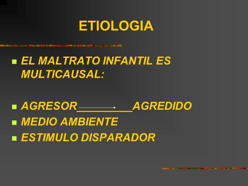 ETIOLOGIA EL MALTRATO INFANTIL ES MULTICAUSAL: