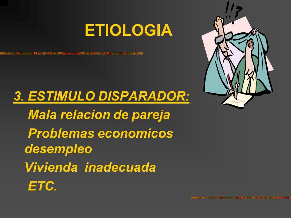 ETIOLOGIA 3. ESTIMULO DISPARADOR: Mala relacion de pareja