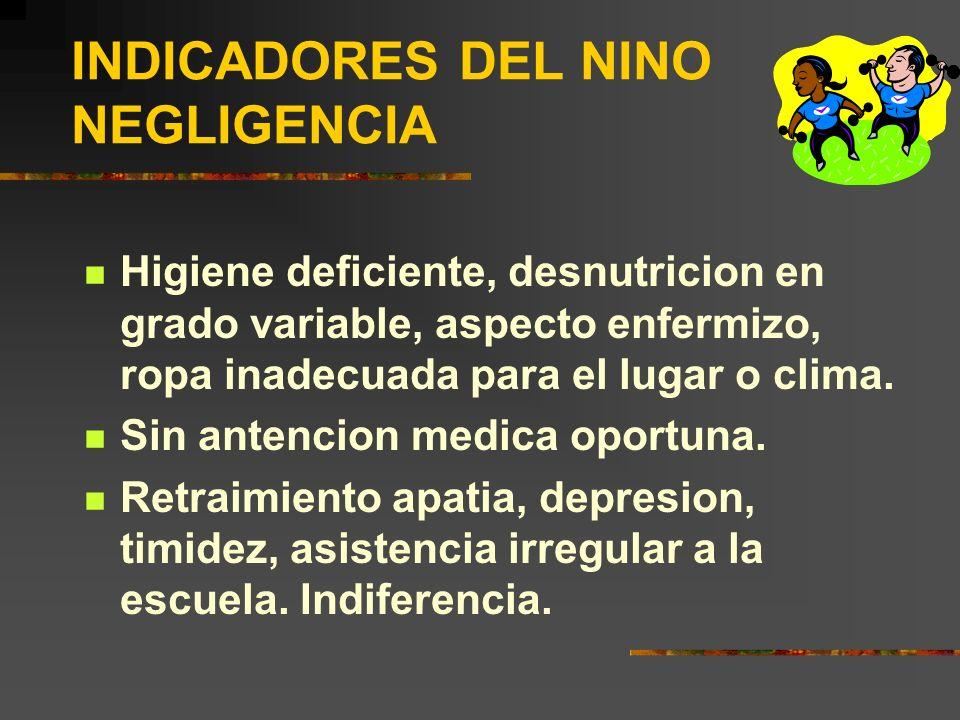 INDICADORES DEL NINO NEGLIGENCIA