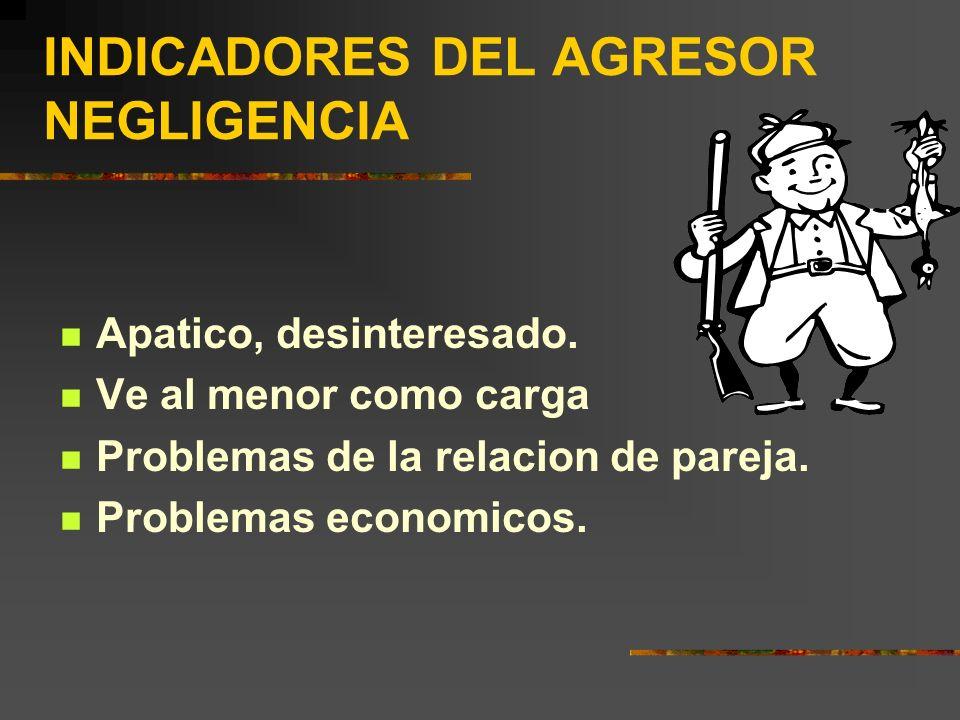 INDICADORES DEL AGRESOR NEGLIGENCIA
