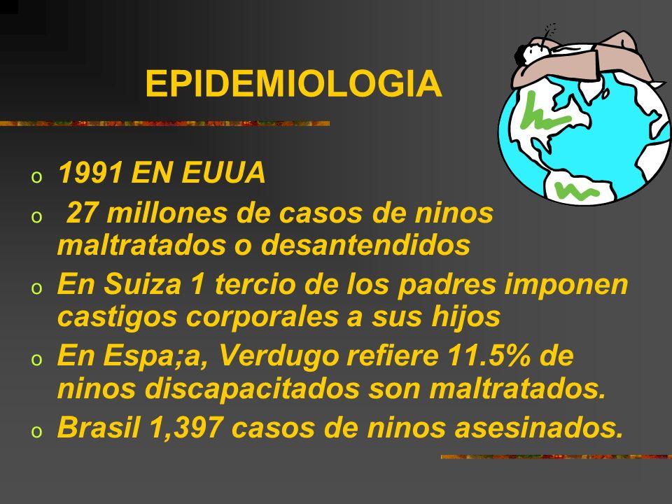 EPIDEMIOLOGIA1991 EN EUUA. 27 millones de casos de ninos maltratados o desantendidos.