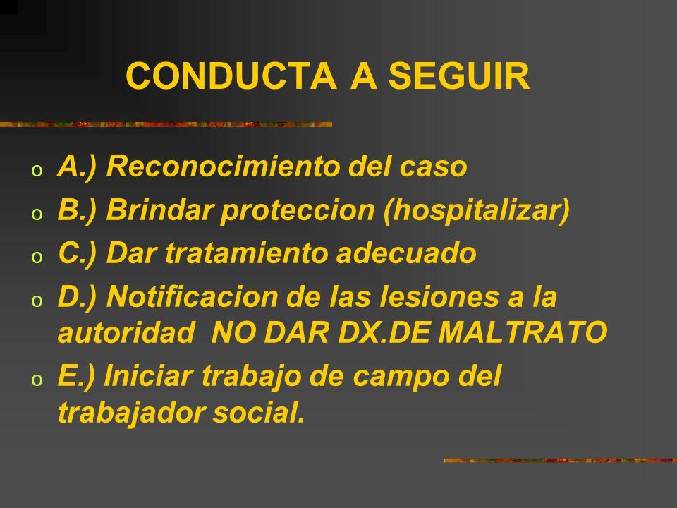 CONDUCTA A SEGUIR A.) Reconocimiento del caso