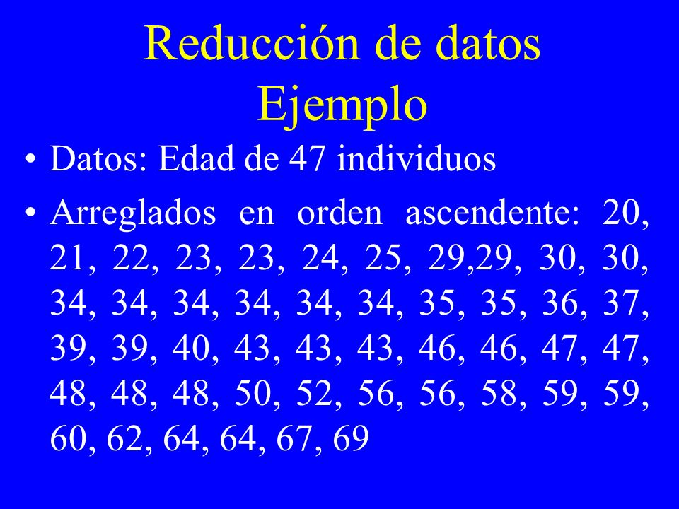 Reducción de datos Ejemplo