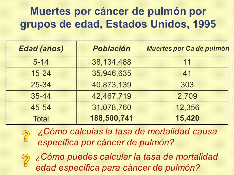 Muertes por cáncer de pulmón por grupos de edad, Estados Unidos, 1995