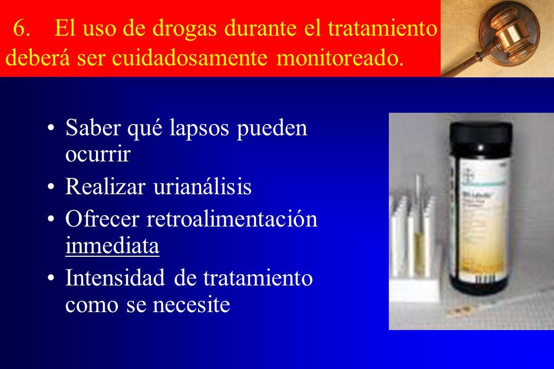 6. El uso de drogas durante el tratamiento deberá ser cuidadosamente monitoreado.