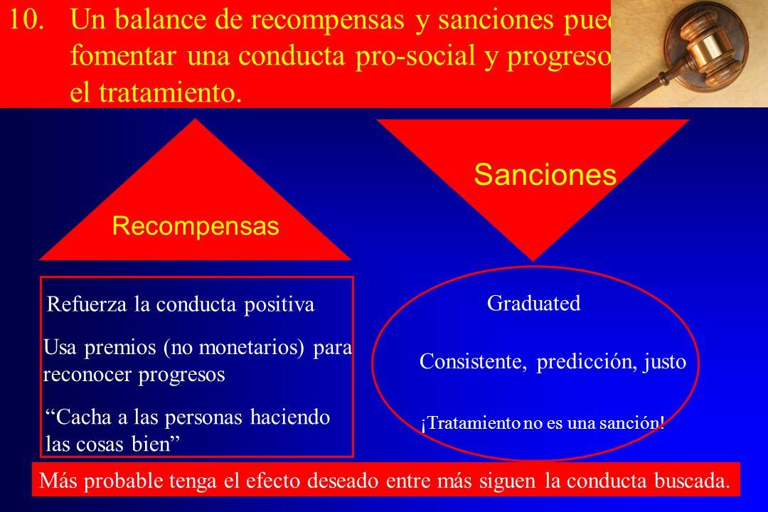 Un balance de recompensas y sanciones puede fomentar una conducta pro-social y progresos en el tratamiento.
