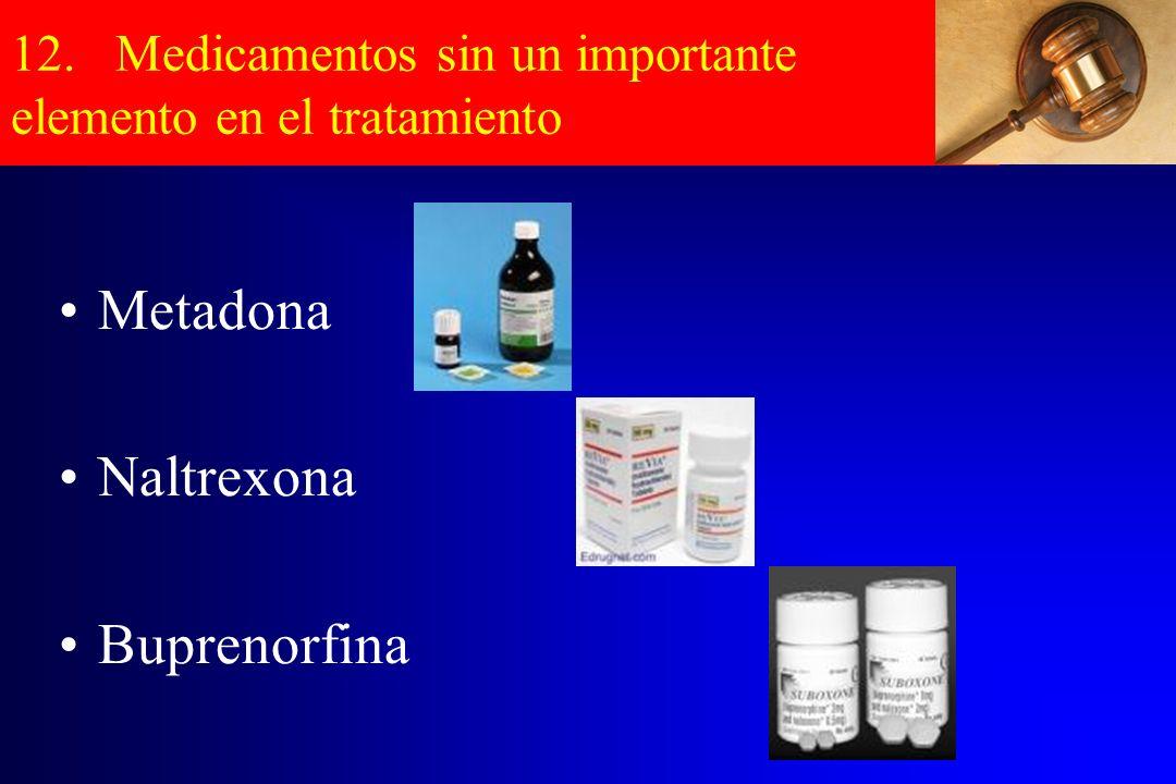 12. Medicamentos sin un importante elemento en el tratamiento