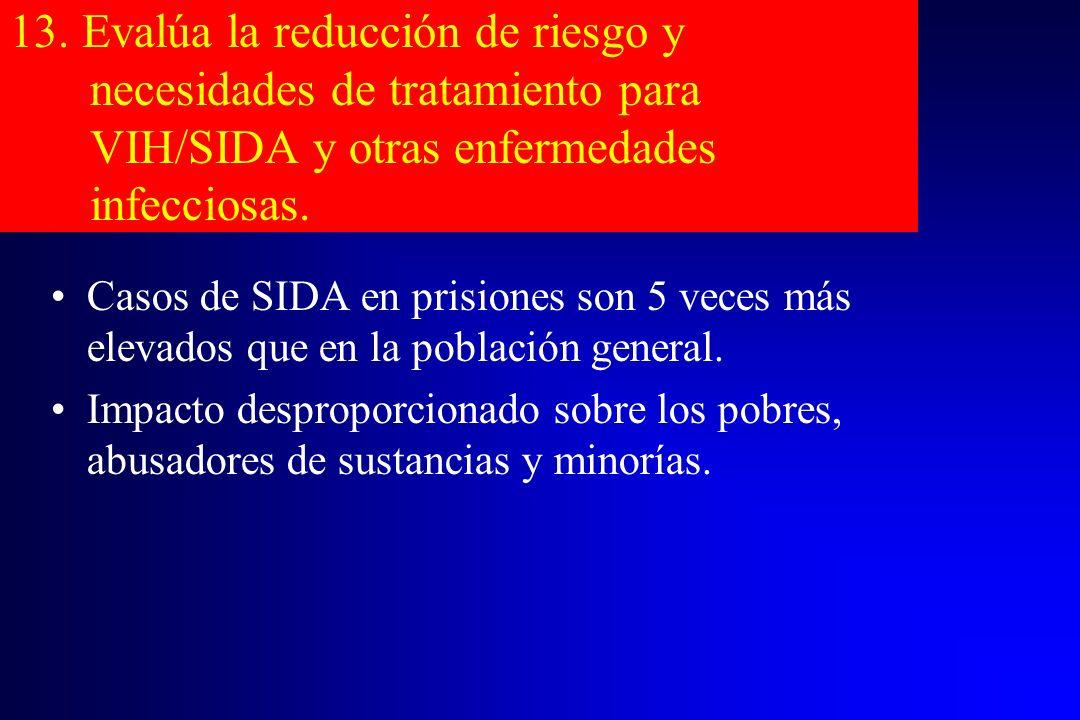 13. Evalúa la reducción de riesgo y necesidades de tratamiento para VIH/SIDA y otras enfermedades infecciosas.