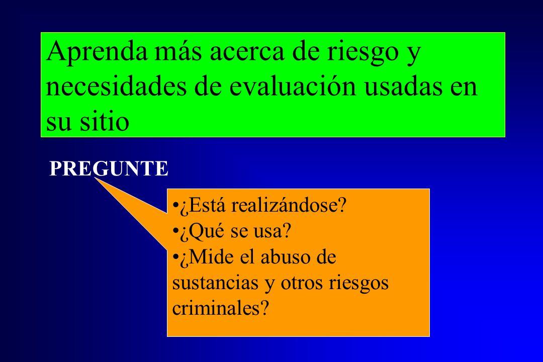 Aprenda más acerca de riesgo y necesidades de evaluación usadas en su sitio