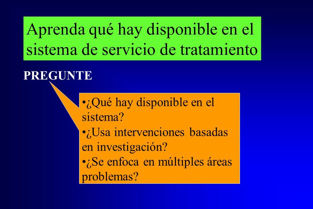 Aprenda qué hay disponible en el sistema de servicio de tratamiento