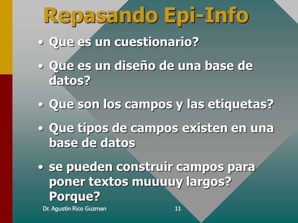 Repasando Epi-Info Que es un cuestionario