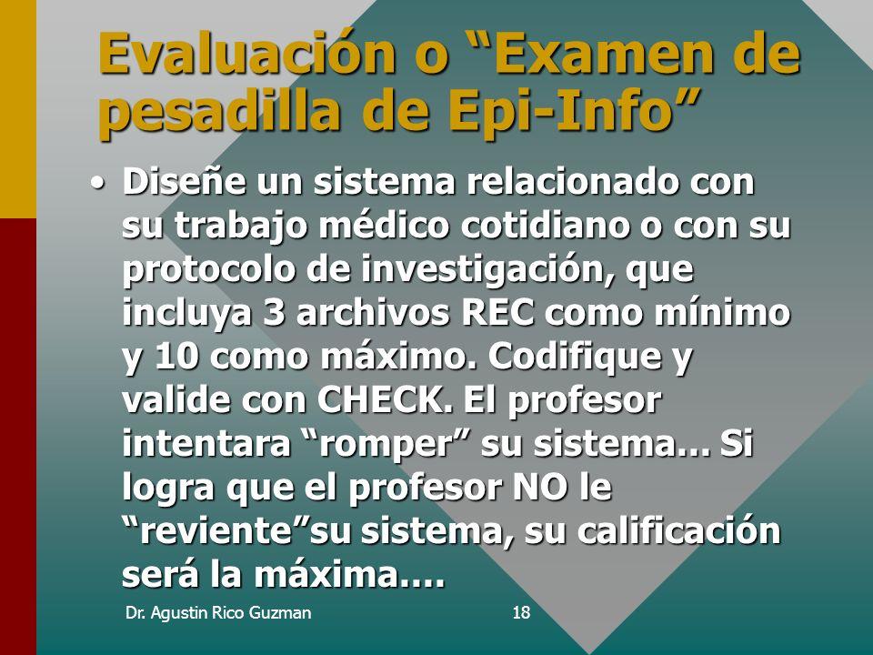 Evaluación o Examen de pesadilla de Epi-Info