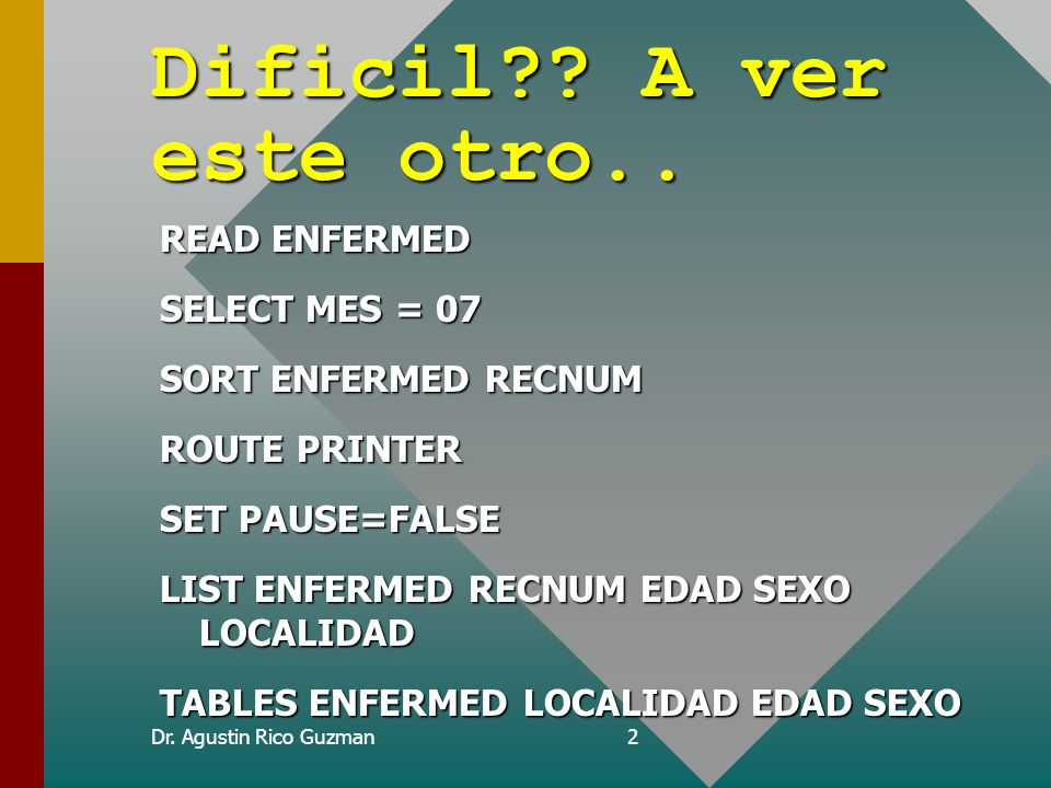 Dificil A ver este otro.. READ ENFERMED SELECT MES = 07