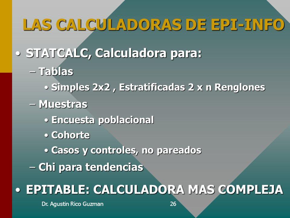 LAS CALCULADORAS DE EPI-INFO
