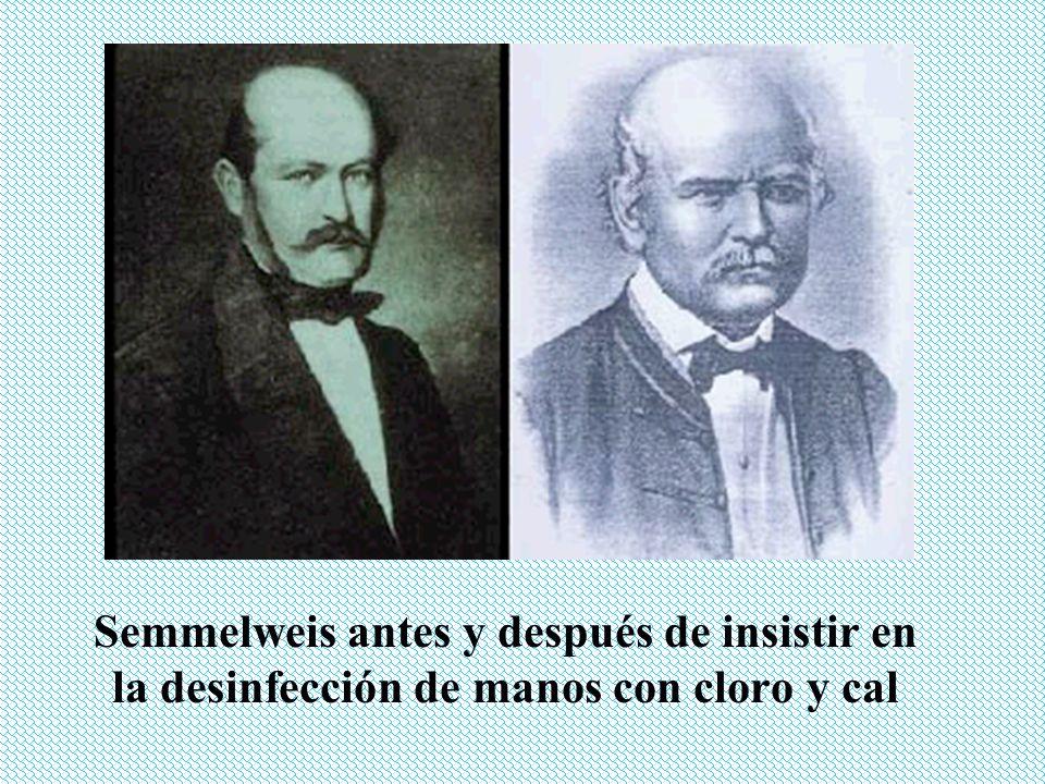 Semmelweis antes y después de insistir en la desinfección de manos con cloro y cal