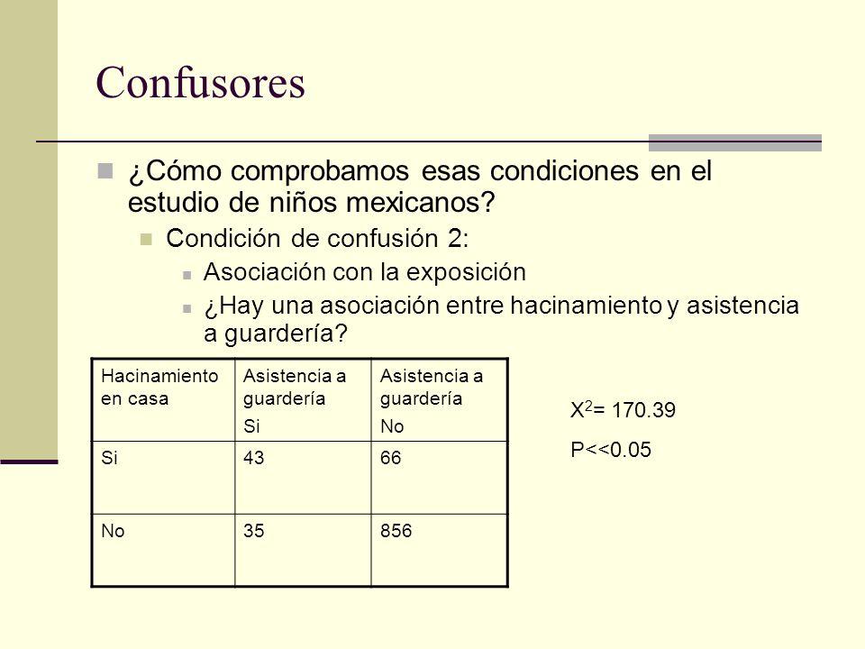 Confusores ¿Cómo comprobamos esas condiciones en el estudio de niños mexicanos Condición de confusión 2:
