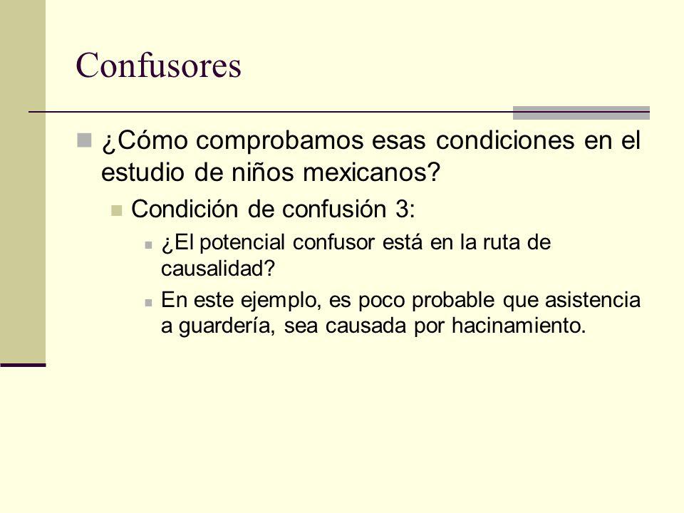 Confusores ¿Cómo comprobamos esas condiciones en el estudio de niños mexicanos Condición de confusión 3: